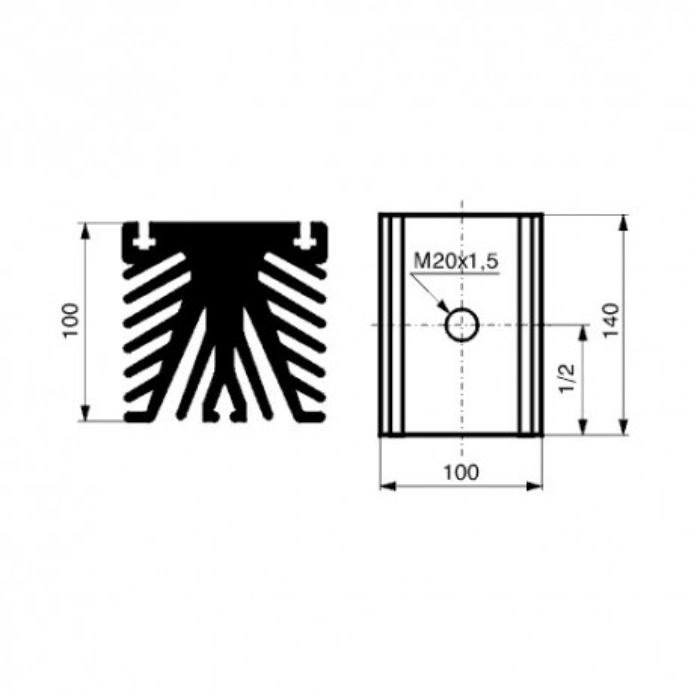 HLADIM20-1 -- Hladnjak diode M20,140X100X100mm