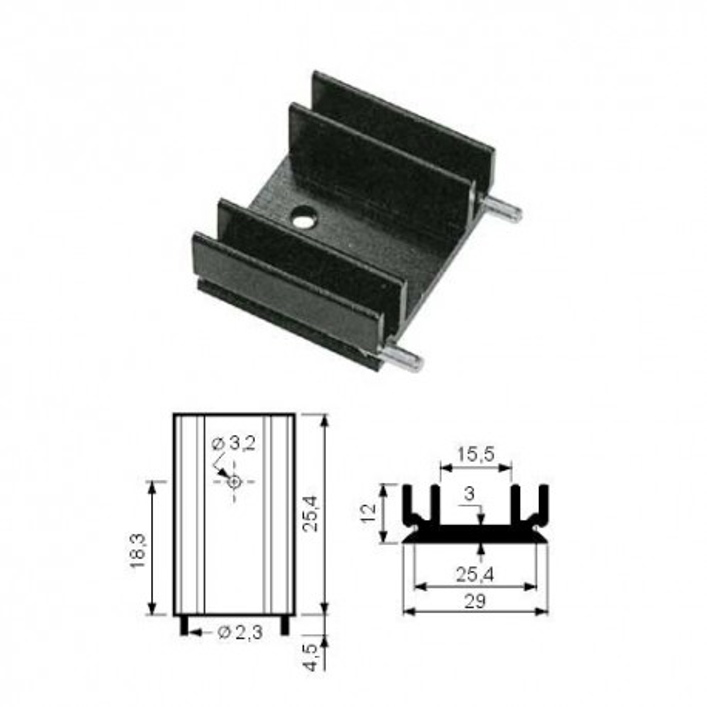 HLATO220-4 -- Hladnjak TO220 25,4/29mm SK29