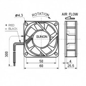 VE60X25 24 -- Ventilator 24VDC 60X25mm 1.9W SUNON